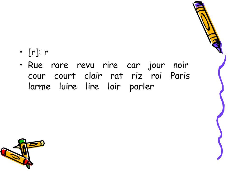 [r]: r Rue rare revu rire car jour noir cour court clair rat riz roi Paris larme luire lire loir parler.